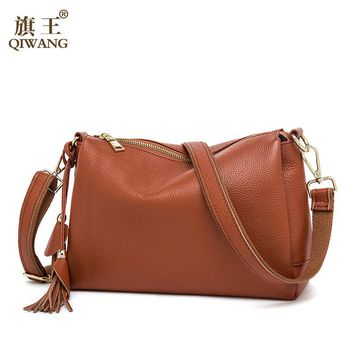 Qiwang Soft COW Leather Bag Luxury 2017 Hot Fashion Women Brown Handbags 3 layers Genuine Leather Female Bag Made in China