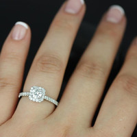 Mikena 14kt White Gold Round FB Moissanite and Diamonds Halo Engagement Ring (Other metals and stone options available)