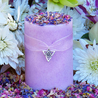 Brigids Bouquet Imbolc Alchemy Pillar Candle 2x3 . Violet, Lily, Heather, Lavender, Hyacinth, WIld Jasmine, Winter Orchid