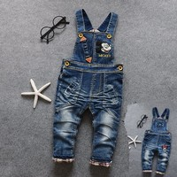 1-4 Years Baby Girls Boys Jeans Pants Overall Trousers Spring Autumn Infant Fashion Pants children mickey minnie denim jumpsuit
