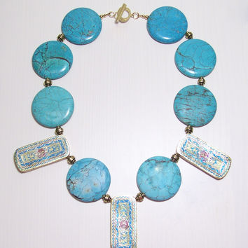 Spiagge di Athene Statement Necklace - Gemstone & Gold Handmade Designer Jewelry