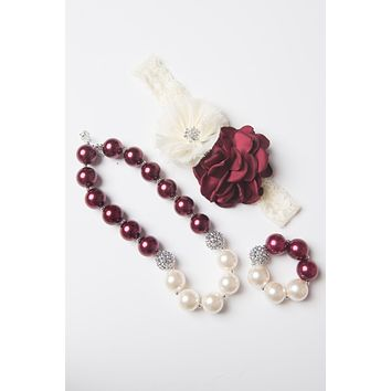 Burgundy bubblegum necklace