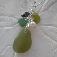 Charm Sea Glass Necklace Beach Glass Jewelry Green Leaf Pearl Sterling Pendant