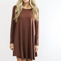Royal Tower Power Cocoa Brown Long Sleeve Basic Dress