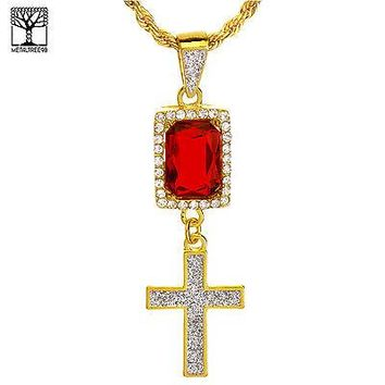 "Jewelry Kay style Men's Iced Out Double Red Ruby & Cross Pendant 20"" Rope Chain Necklace NA 0173 G"