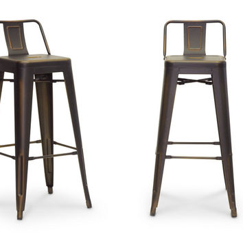 Baxton Studio French Industrial Modern Bar Stool Set of 2 (Antique Copper, White & Black)