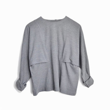 Vintage 90s Minimalist Wool Top in Gray - women's 6