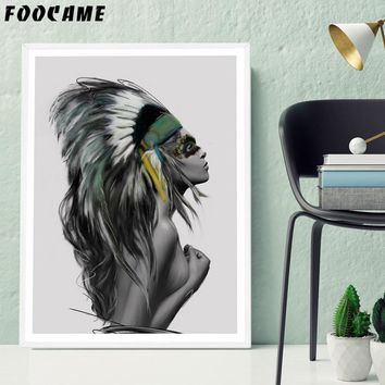 FOOCAME Indians Women Feather Watercolor Nordic Posters and Prints Art Canvas Painting Home Decor Wall Pictures For Living Room