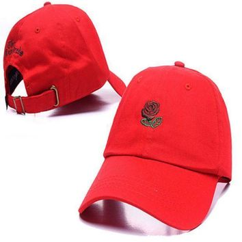 Red The Hundreds Rose Embroidered Unisex Adjustable Cotton Sports Cap Hat