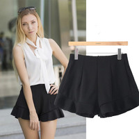 Women's Fashion Slim Shaped Ruffle High Rise Casual Pants Shorts [6047489473]