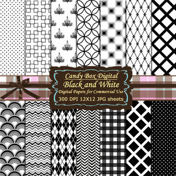 Black and White Digital Paper, Black and white Digital Scrapbook Paper, Black and White paper, scrapbook - Commercial OK