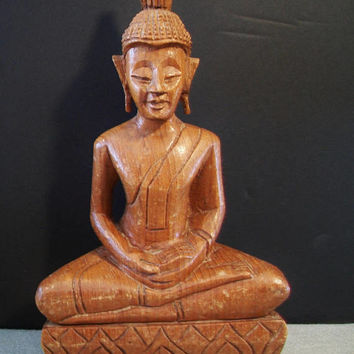 Vintage Wood Buddha Sculpture Statue Enlightenment Asian Indonesia Thailand Home Decor
