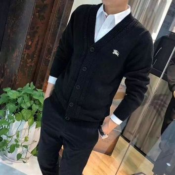 """Burberry"" Men Knitwear Fashion Casual Simple Embroidery Long Sleeve V-Neck Buttons Cardigan Knit Sweater Coat"