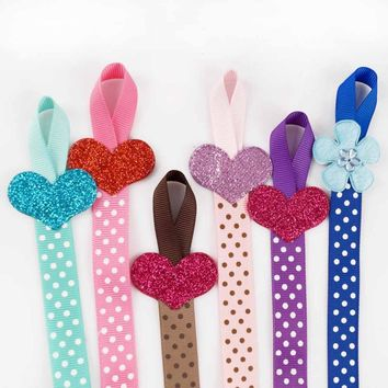 3pcs Lovely Children Polka Dots Hair Bows Holders Long Hair Clip Organizer Hair Bow Storage Glitter Heart-shaped For Girls