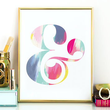 PRINTABLE art - ampersand abstract art,colorful wall art,gift for her,printable women gift,inspirational art,ampersand wall art,instant art