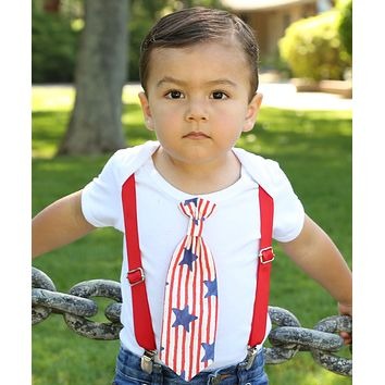 Baby Boy 4th of July Outfit Shirt Star and Stripe Tie Set Patriotic