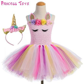 Cute Princess Girl Pastel Unicorn Birthday Tutu Dress with Headband Pink Flowers Girl Pony Theme Party Costume set For Holidays