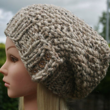 Hand Knit hat- Women's hat- Cream tweed-slouchy- beanie- winter hat with 3 small coconut buttons- Rustic Mega Chunky with wool