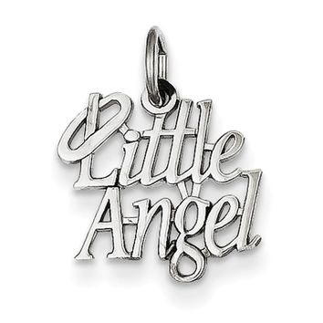 14kt White Gold Haloed Little Angel Girls Pendant