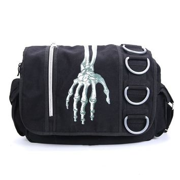 Skull Hand Print Shoulder Crossbody Bag