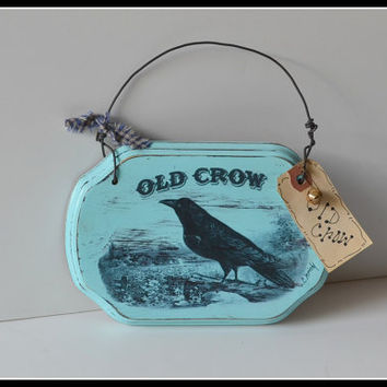 Primitive Black Crow country décor sign, country kitchen, primitive kitchen sign, country décor handmade sign in USA