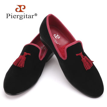 Red and Black Leather Tassel Men shoes Men's Party Wedding Shoes Men velvet loafers Men's Flats shoes