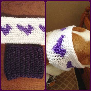 Dog Ear Warmer Heart Set for Small Female Dogs - Crochet Dog Hat - Dog Winter Accessories - Dog Clothes - Puppy Headbands - Pet Clothes