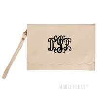 Monogrammed Scallop Wallet Clutch | Marleylilly