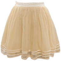 ROMWE | Layered Elastic Pleated Cream Bubble Skirt, The Latest Street Fashion