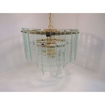 Designer Ceiling Chandelier Hanging Lamp Bright Brass Contemporary Vintage -- Used
