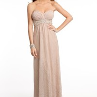 Glitter Strapless Dress with Beaded Waist