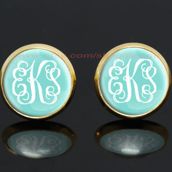 Monogram Tiffany Blue gold plated stud post earrings,girlfriend gift Bridesmaid Gift