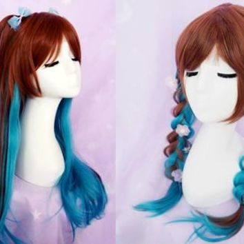 Brown Blue Mixed Lolita Long Wig CP1710379