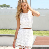 2017 new summer autumn white red green cute sundress solid colors elegant floral lace Crochet women dresses zipper short dress