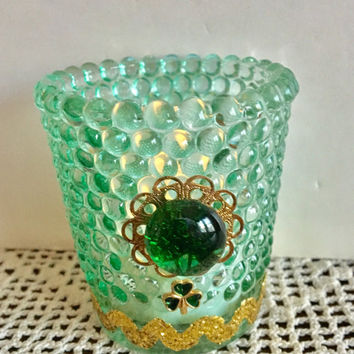 Green Candle Holder, Votive Candle Holder, St. Patrick's Day, Shamrock Decor, Repurposed Glassware, Upcycled Glass, Recycled Jewelry Craft