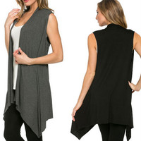 Long Cardigan Knitted Sleeveless Open Stitch O-neck Outwear