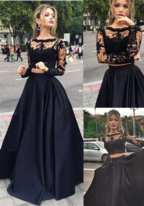 Black Lace Two Piece Prom Dress Long From Anglemodel Ugh Want