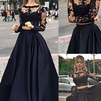 Black Lace Two piece Prom Dress Long Sleeve Formal Dress Prom Dr 243021867