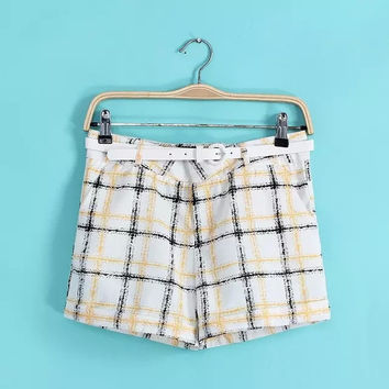Women's Fashion Plaid Print Casual Shorts [4919629188]