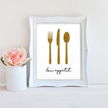 Kitchen Fork Knife Spoon Utensil Bon Appetit Printable Sign, Eating Utensil Glitter Digital wall art template, Instant Download, 8x10