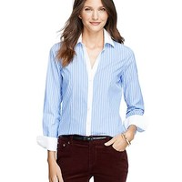 Women's Non-Iron Fitted Bold Stripe Dress Shirt