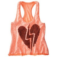 License Juniors Lightening Heart Graphic Tank - Neon Coral