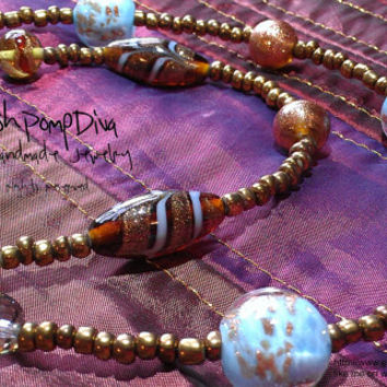 Two-Strands Necklace with Czech Crystal Handmade Lampwork, Gold Bronze, Antique Copper, Light Blue Glass Beads