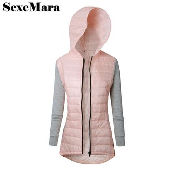 SexeMara casual hooded slim womens jackets and coats 2017 autumn winter windbreaker casacos quilted jacket for women D38-AA77