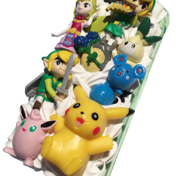 Made-to-Order! Zelda and Pokemon Pikachu Kawaii Decoden Phone Case