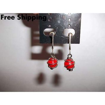 Vintage Red Glass Caged Bead Screw Back Dangle Earrings