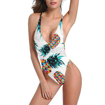 Pineapple City Low Back One-Piece Swimsuit