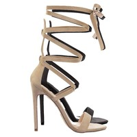 Irina20 High Heel Calf High Lace Up Leg Wrap Open Toe Stiletto Dress Sandals