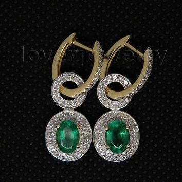 14KT Yellow  Gold Real Diamond Emerald Earrings Oval 5x7mm