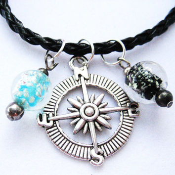 Silver compass , with Glow In The Dark. glass beads , on black cord W/ extender chain